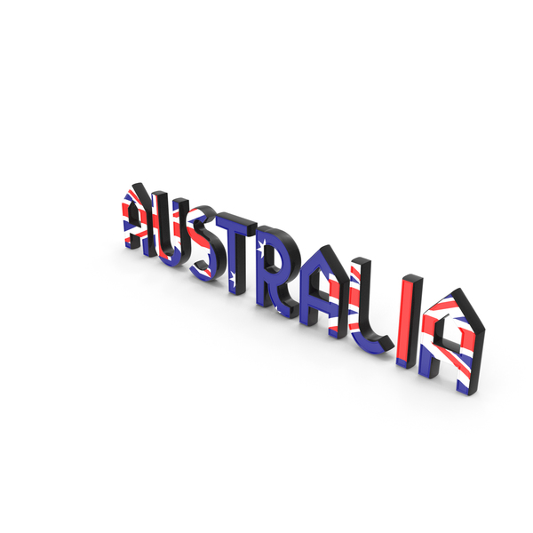 Language: Australia Text with Flag PNG & PSD Images