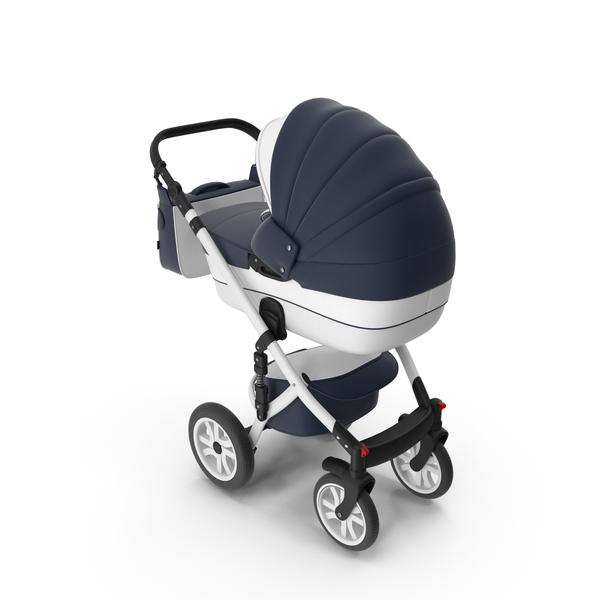 Baby Stroller Dark Blue PNG & PSD Images