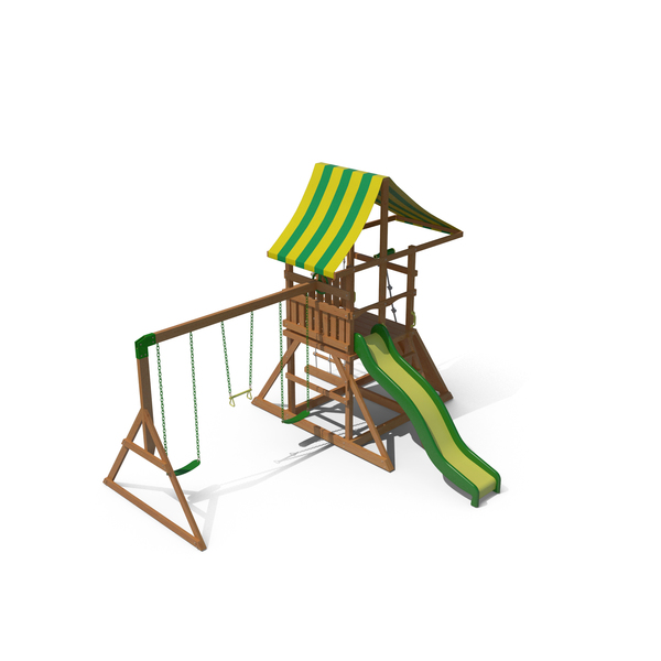 Backyard Wood Playset Swing Set PNG & PSD Images
