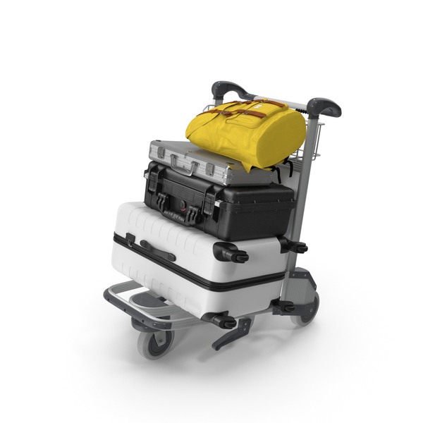 Backpack: Baggage with Airport Luggage Trolley PNG & PSD Images