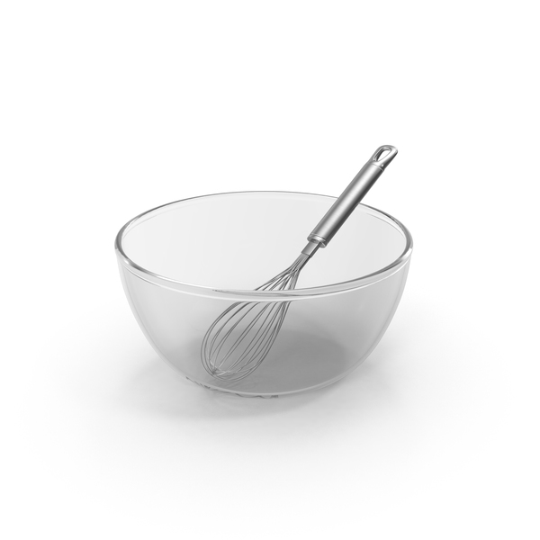 Balloon Whisk & Glass Bowl PNG & PSD Images