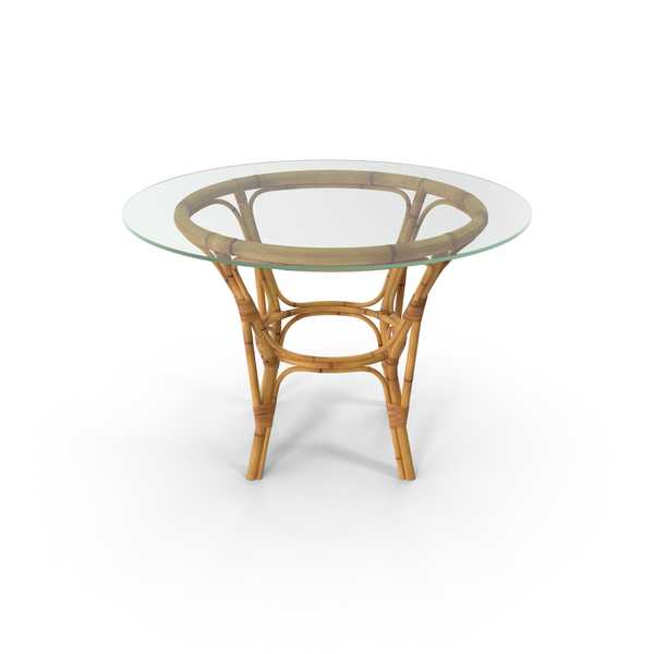 Bamboo Round Dining Table with Glass Top PNG & PSD Images