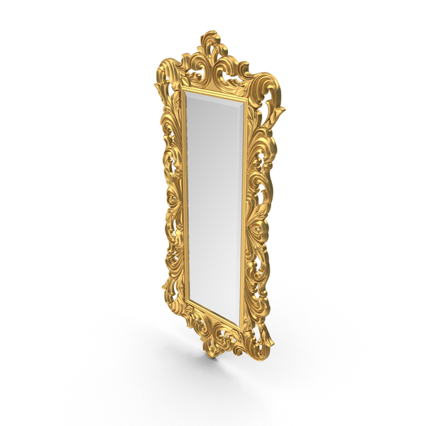 Baroque Carved Mirror Golden tall PNG & PSD Images