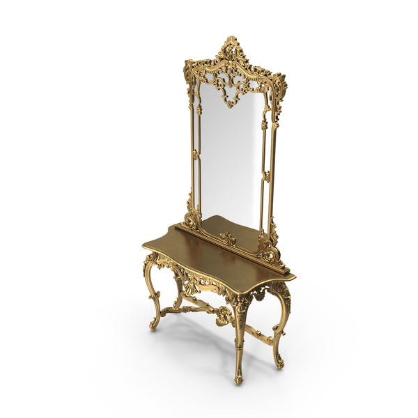 Baroque Console & Mirror Set PNG & PSD Images