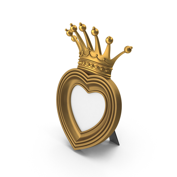Picture: Baroque Golden Heart & Crown Photo Frame PNG & PSD Images