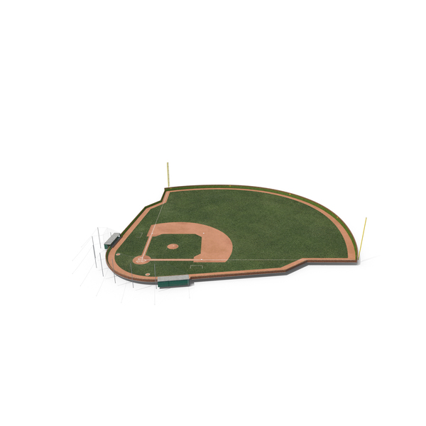 Baseball Field with Round Brick Wall with Ivy PNG & PSD Images