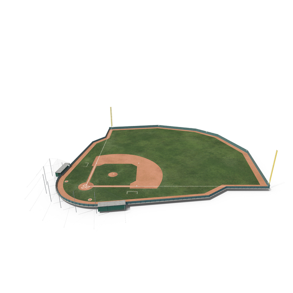 Diamond: Baseball Field with Wooden Board Wall PNG & PSD Images