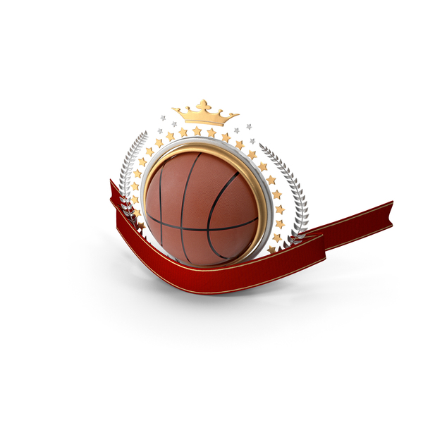 Ball: Basketball Laurel Emblem Banner PNG & PSD Images