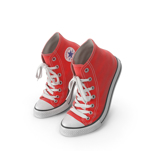 High Top Sneakers: Basketball Leather Shoes Bent Red PNG & PSD Images