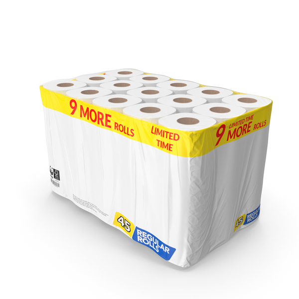 Toilet Paper: Bath Tissue 45 Rolls Pack PNG & PSD Images
