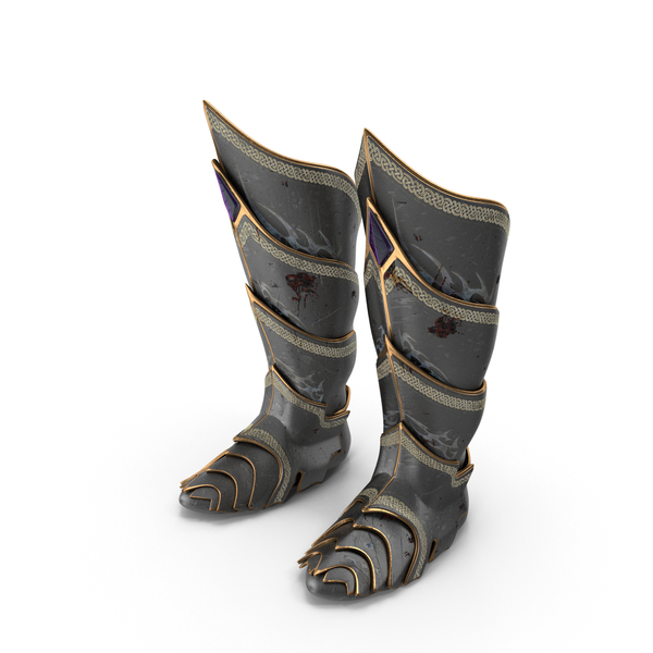 Battle Worn Fantasy Knight Boots PNG & PSD Images