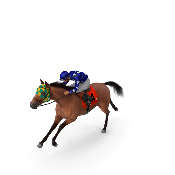 Bay Racing Horse with Jockey Running Fur PNG & PSD Images