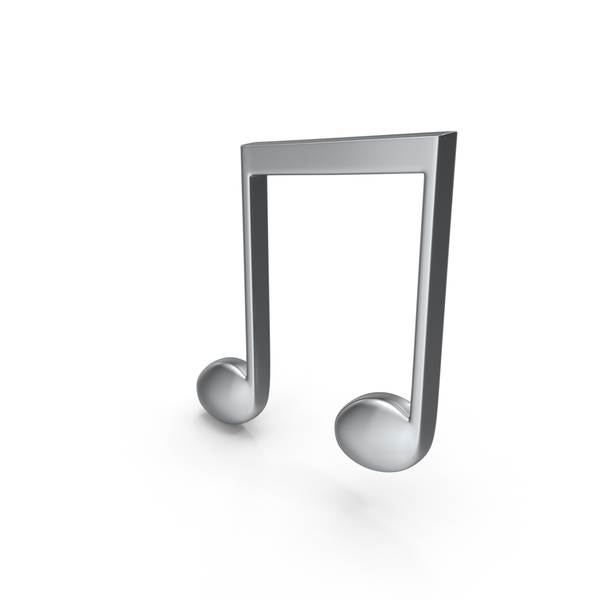 Musical: Beamed Music Note Silver PNG & PSD Images