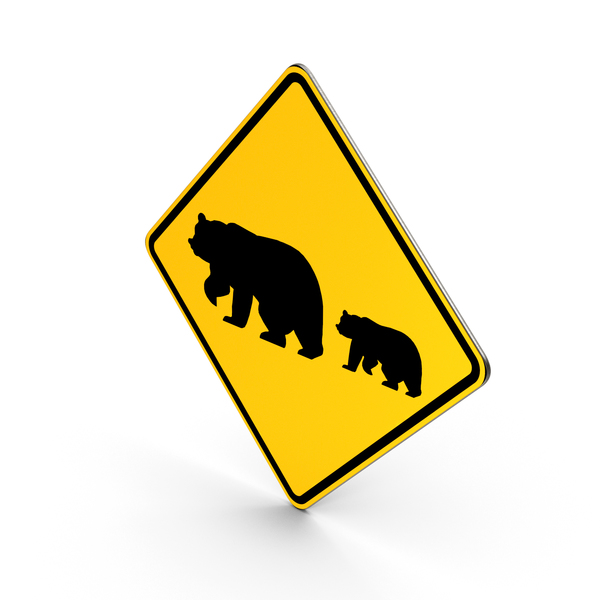 Bear Crossing Road Sign PNG & PSD Images