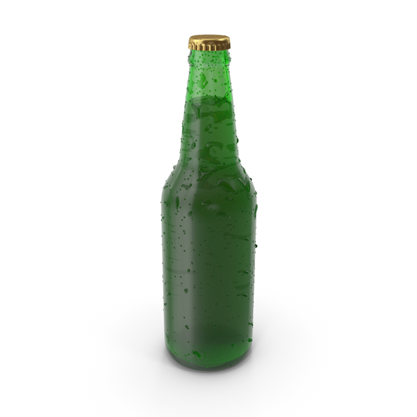 Beer Bottle With Drops PNG & PSD Images