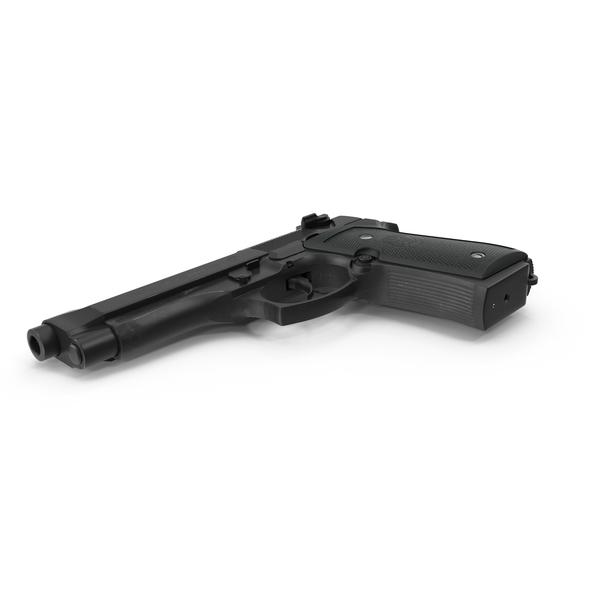 Handgun: Beretta 92F Black PNG & PSD Images