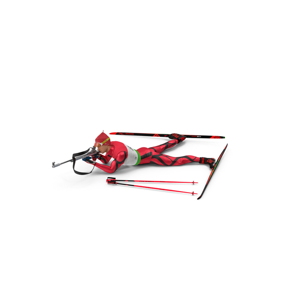 Skier: Biathlete Fully Equipped Shooting Pose PNG & PSD Images
