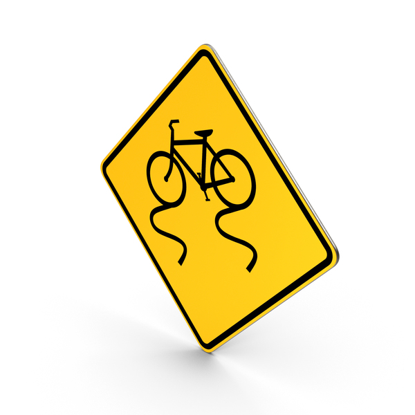 Bicycle Slippery When Wet Road Sign PNG & PSD Images