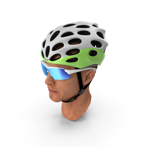 Male: Bicyclist Head in Helmet with Glasses PNG & PSD Images