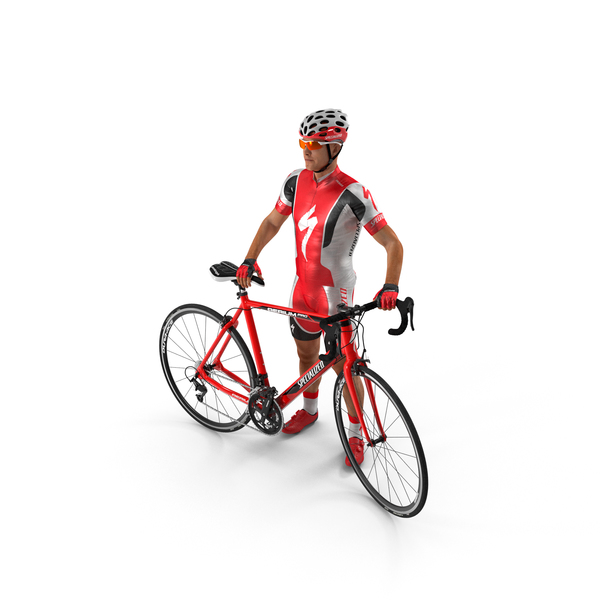 Bicyclist in Red Suit with Bike PNG & PSD Images
