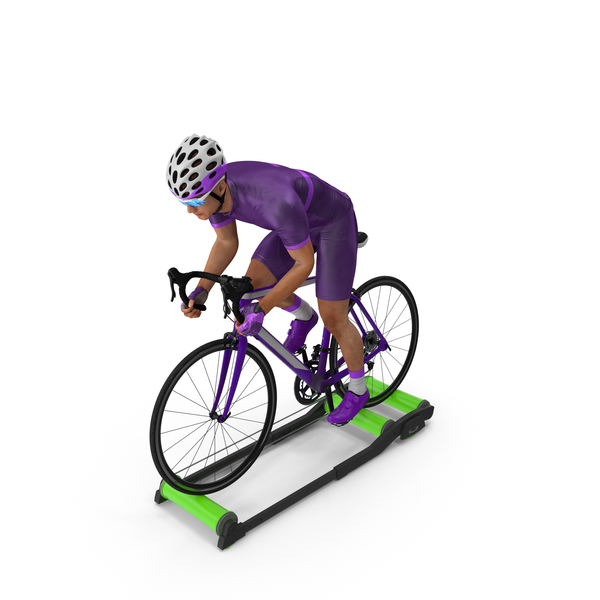 Bicyclist Riding Roller Trainer Platform PNG & PSD Images