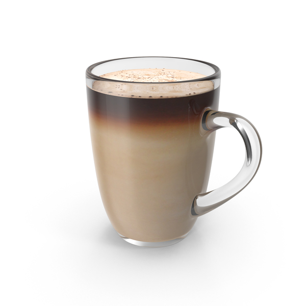 Big Glass Coffee Cup With Milk PNG & PSD Images