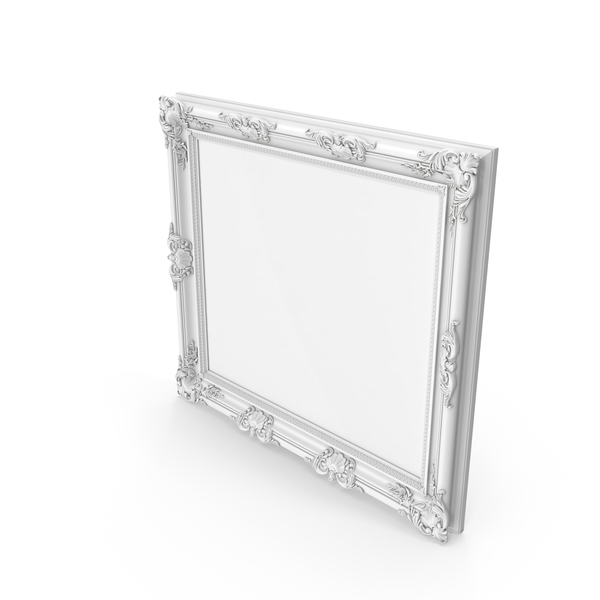 Big White Baroque Picture Frame PNG & PSD Images