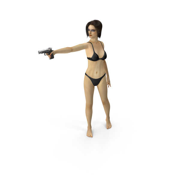 Woman: Bikini Girl Aiming Gun PNG & PSD Images
