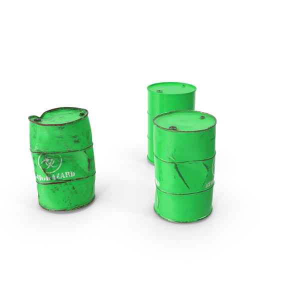 Biohazard Toxic Waste Barrels Set PNG & PSD Images