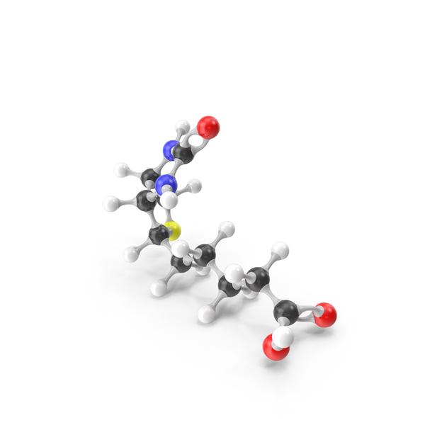 Biotin Vitamin B7 Molecular Model PNG & PSD Images