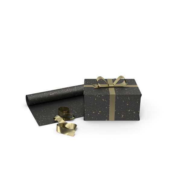 Black and Gold Gift Box with Paper Roll and Gold Foil Ribbon PNG & PSD Images