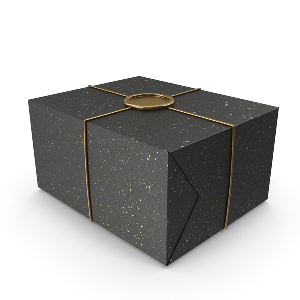 Box: Black and Gold Gift Wrapping with a Wax Seal PNG & PSD Images