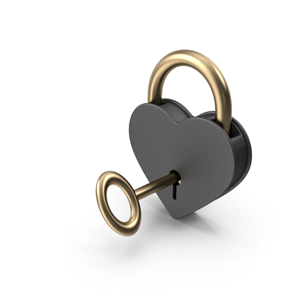 Lock: Black and Gold Heart Shaped Padlock and Key PNG & PSD Images