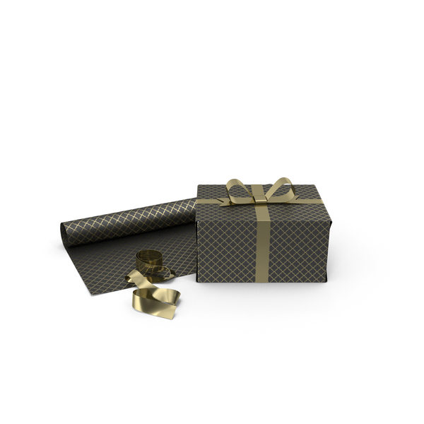 Black and Gold Pattern Gift Box with Paper Roll and Gold Foil Ribbon PNG & PSD Images