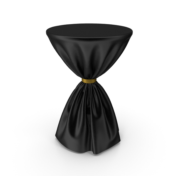 Black and Gold Silk Tablecloth Cocktail Table PNG & PSD Images