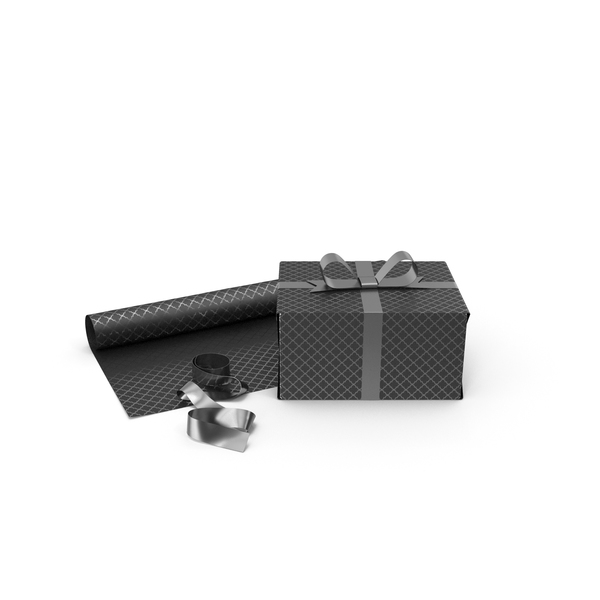 Black and Silver Pattern Gift Box with Paper Roll and Silver Foil Ribbon PNG & PSD Images