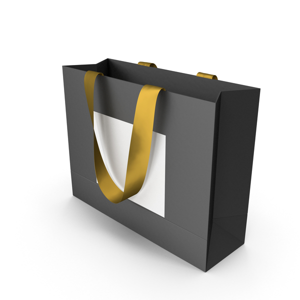 Gift: Black and White Bag with Gold Ribbon Handles PNG & PSD Images