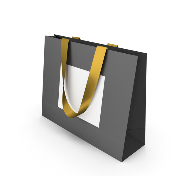 Black and White Paper Bag with Gold Tape Handles PNG & PSD Images