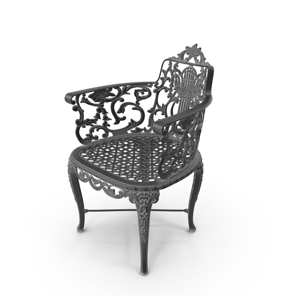 Black  Antique Vintage Victorian Cast Iron Rose Garden Chair PNG & PSD Images