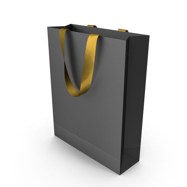 Gift: Black Bag with Gold Ribbon Handles PNG & PSD Images