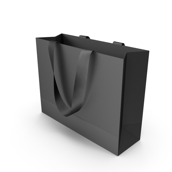 Black Bag with Black Ribbon Handles PNG & PSD Images