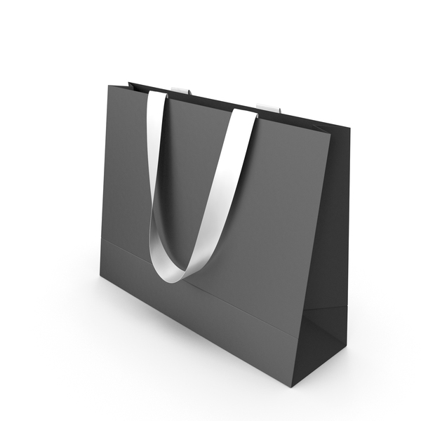 Black Bag with White Ribbon Handles PNG & PSD Images
