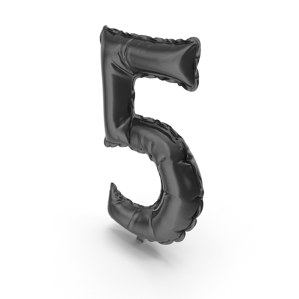 Black Balloon Number 5 PNG & PSD Images