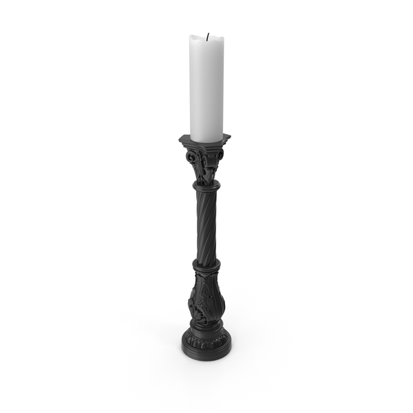 Black Baroque Candlestick PNG & PSD Images