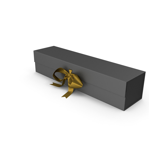 Gift: Black Box with Gold Ribbon PNG & PSD Images
