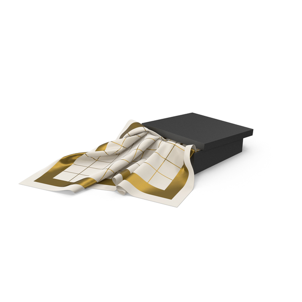 Black Box with Gold Silk Scarf PNG & PSD Images