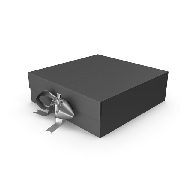 Black Box with Silver Ribbon PNG & PSD Images
