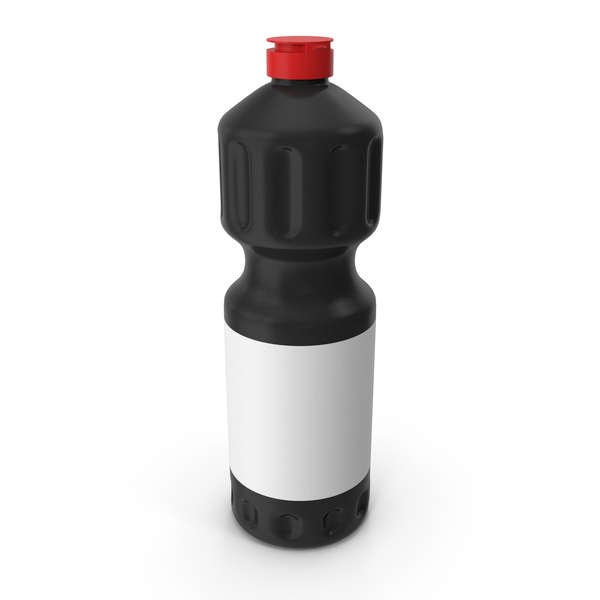 Black Cleaning Product Bottle with Red Cap PNG & PSD Images