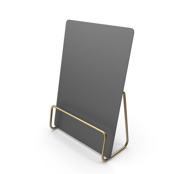 Office Supplies: Black Desk Paper Banner with Gold Stand PNG & PSD Images