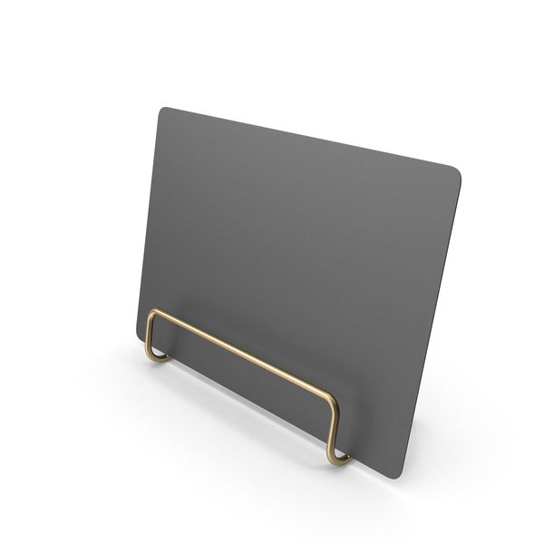 Black Desk Paper Banner with Gold Stand PNG & PSD Images